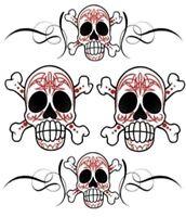Totenkopf Aufkleber Set 16x14 cm Pinstripe Skull Decal Tattoo Airbrush Tank Helm
