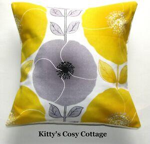 "16"" New Retro Chic 'Yellow poppy' fabric cushion cover"