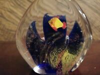 "Vintage Murano style Art Glass Fish Plants Aquarium Paper Weight 3.5"" 15oz"