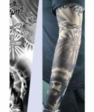 Jesus Tattoo Sleeve with Cross and Praying Hands Mexican Pride Written At Top