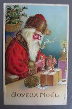 JOYEUX NOEL MERRY CHRISTMAS. PERE NOEL. CARTE POSTALE ANCIENNE GAUFREE