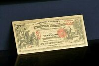 """<GEM>1875 """"GOLD"""" $5 DOLLARS Rep* Banknote ~100+Yr. OLD STYLE Bill~US SELLER!"""
