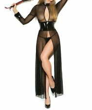 Latex Look See Through Black Mesh Dress Open Front and Back Slits to Waist