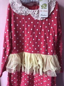 Girls Kids Children Princess Frilly Lace Pink Dots Long Sleeve Dress 6-7 Years