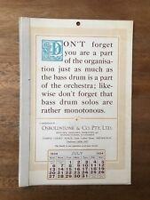 ANTIQUE JULY 1924 CALENDAR OSBOLDSTONE CO MELBOURNE PRINTER VINTAGE CARD
