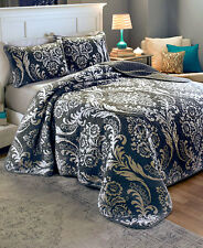 3 PC Damask Black White Reversible Shams King Size Bedding Quilt Set Home Decor