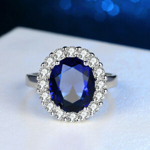 Luxury 925 Sterling Silver Inlay Zircon Sapphire Women Ring Fashion Jewelry