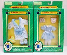 "2 Madeline & Friends 8"" Doll Clothing Sets Robe Duck & All Dressed Up Blue Dress"