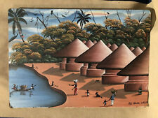 Vintage Signed African Artist Isaac Willie 1972 Oil Painting Bought in Liberia