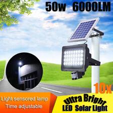 2x 50w LED Solar Sensor Flood Light Motion Detection Security Garden Street Lamp