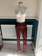 Helmut Lang Woman's Waxed Coated Stretch Skinny Jeans Size 26 Oxblood Colour