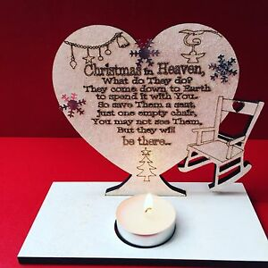1 x CHRISTMAS IN HEAVEN POEM ON HEART WITH TEA LIGHTER HOLDER AND CHAIR