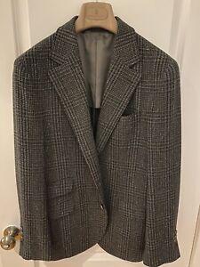 **NEW** Brunello Cucinelli Green Plaid Wool/Cashmere Sport Coat Size 48(38) Reg