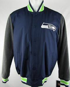 Seattle Seahawks Men's Navy Blue Snap Up Varsity Jacket G-III NFL M