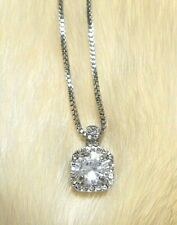 Pendant Necklace Clear Simulated Diamonds Prong Set Silver Tone, Box Chain NEW