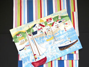 NAUTICAL Placemats Set of 5 Fabric Reversible Seaside Town Sailboats Stripes