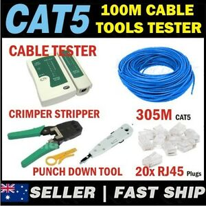 1 x 305m Cat 5 CAT5e Network LAN Cable Home House Kit +Tools+Tester+RJ45 Plugs