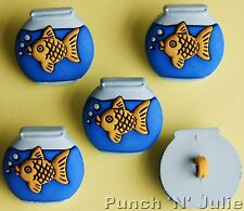 GOLDFISH BOWLS - Gold Fish Tank Water Tropical Aquatic Pet Novelty Craft Buttons