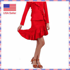SGS30rd Red Latin Salsa Swing Tango Country Club Dance Dress Skirt with Trunk