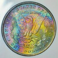 1885-P MORGAN SILVER DOLLAR NGC MS65 MONSTER RAINBOW TONED COLOR GEM BU UNC (DR)