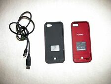 iPhone 5 TWO RED BUNDLED POWER PACK PLUS CASE BATTERY PACK 500mA and 5V!