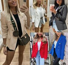 Women's Ladies Gold Button Double Breasted Padded Shoulder Blazer Jacket Outwear