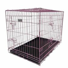 More details for hugglepets dog cage pink blue puppy crate with tray small medium large training