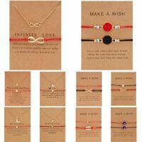 2Pcs Women Bracelet Pendant Necklace Wish Card Clavicle Chain Friendship Jewelry