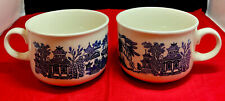2 Vintage Blue Willow Classic Churchill England Tea Coffee Cups