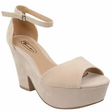 Ladies Sandals Womens High Mid Heel Platform Ankle Strap Wedge Shoe Size
