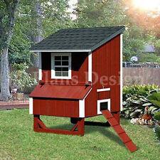 5'x4' Lean To Backyard Chicken/Hen Poultry Coop Plans, 90504L (Free Chicken Run)