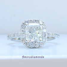 2.00 ct natural cushion diamond antique vintage engagement halo ring platinum