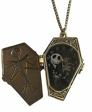 "Jack Skellington Coffin Pocket Watch Pendant Necklace with 30"" Chain"