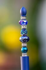 Handcrafted Ballpoint Pen Jeweled Beaded Blue W/ Pouch & Box NEW!