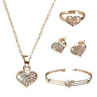 Women Heart Rhinestone Necklace Bracelet Ring Earrings Set Pendant Jewelry H3E2