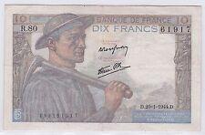 BILLET 10 FRANCS MINEUR D 20 1 1944 D 61917 R 80