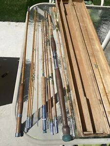 Vintage Lot Of 3 Cane Wood Fly Fishing Poles Best Of Luck And Labeled With Box