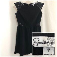 Sz 7 SPEECHLESS Womens Juniors Sleeveless Lace Stretch WaistDefining Black Dress