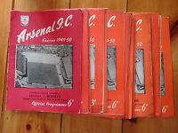 Arsenal home programmes  1949/50 - League / Reserves / Friendly