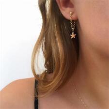 Women Long Tassel Five-pointed Star Chain Pendant Earrings Bead Ear Stud Jewelry