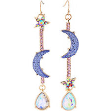 New Fashion Women Jewelry Blue CZ Moon&star Drop Dangle Earrings Long Jewelry