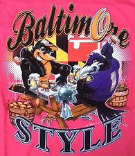 "RAVENS ORIOLES T-Shirt Pink *Beer & Crabs* ""BALTIMORE STYLE"" Size XL (Mens)"