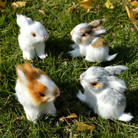 4 Realistic Rabbits Figurines Mini Furry Farm Animals Eastern Bunnies Photo Prop