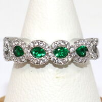 Sparkling Oval Emerald Ring Women Wedding Jewelry Gift 14K White Gold Plated
