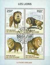Timbres Animaux Félins Lions Cote d'Ivoire 1326/9 o année 2014 lot 14200