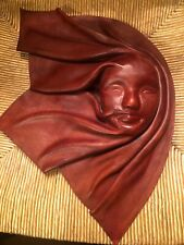 VTG Leather Mask Face Hand Crafted Wall Art Decorative Africa Tribal 15x10.5""