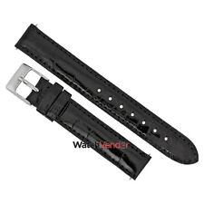 HADLEY ROMA 14 MM Black Crocodile Leather Strap HAD-14AAN01M