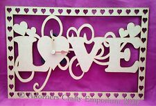 Love Word Hearts Clock Hanging Mdf Wood Wooden Craft 30 X 20cm