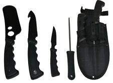 NEW 4 Pc Hunting Knives Butcher Skinning Knife Set Sharpener & Case
