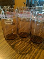 3 VINTAGE ANCHOR HOCKING TUMBLER pink GLASSES pink FLOWERS & white lace